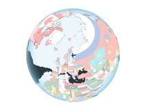 Finland with flag on globe isolated. Finland on bright political globe with embedded flag. 3D illustration isolated on white background Royalty Free Stock Images