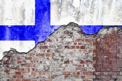 Finland Flag On Grungy Wall. Grungy old brick wall with Finland flag on broken render surface royalty free stock images