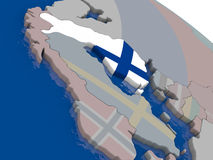 Finland with flag. Highlighted on model of globe. 3D illustration Stock Photo