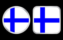 Finland flag icon. Finland flag - two icon on black background. Vector illustration Stock Photo