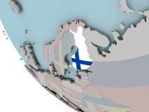 Finland with flag illustration. Map of Finland on political globe with embedded flags. 3D illustration Royalty Free Stock Photography
