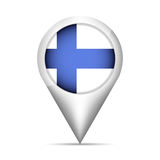 Finland flag map pointer with shadow. Vector illustration Royalty Free Stock Photos