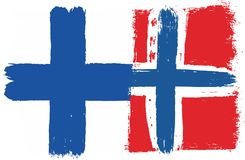 Finland Flag & Norway Flag Vector Hand Painted with Rounded Brush. This image is a vector illustration and can be scaled to any size without loss of resolution Royalty Free Stock Image