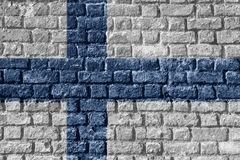 Finland Flag Painted on brick wall nice. Finland Flag Painted on brick wall Stock Images