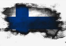 Finland flag painted with brush. On white background, 3D rendering Royalty Free Stock Photos