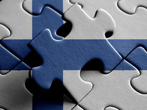 Finland FLAG PAINTED ON PUZZLE nice. Finland FLAG PAINTED ON PUZZLE Royalty Free Stock Photos