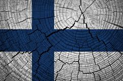 Finland Flag. Painted on wood background royalty free stock image