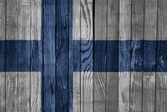 Finland    FLAG PAINTED ON WOOD cool. Finland    FLAG PAINTED ON WOOD Royalty Free Stock Photos