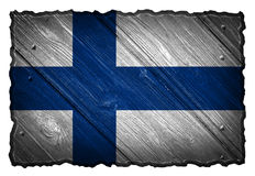 Finland Flag. Painted on wood tag. Isolated on white background royalty free stock photography