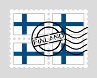 Finland flag on postage stamps. Finnish flag on postage stamps Stock Photos