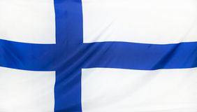 Finland Flag real fabric Stock Photos