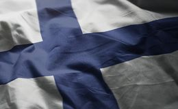 Finland Flag Rumpled Close Up.  stock photos