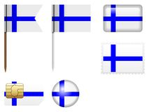 Finland flag set. On a white background Stock Image