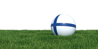 Finland flag soccer ball lying in grass world cup 2018. Isolated on white background. 3D Rendering, Illustration Stock Photo