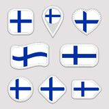 Finland flag stickers set. Finn national symbols badges. Isolated geometric icons. Vector Finnish official flags collection. Sport stock illustration