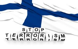 Finland flag and text stop terrorism. 3D rendering Stock Photos
