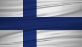 Finland flag vector. Vector flag of Finland blowig in the wind. EPS 10 Royalty Free Stock Photography