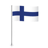 Finland flag waving on a metallic pole. Finnish vector flag template. Waving flag of Finland on a metallic pole, isolated on a white background Stock Photography