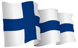 Finland Flag Waving Vector Illustration. Finland flag waving isolated on white in vector format Stock Photos