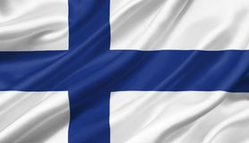 Finland flag waving with the wind, 3D illustration. 3D rendering Stock Photo