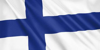 Finland flag waving with the wind. Finland flag waving with the wind, wide format, 3D illustration. 3D rendering Stock Photos