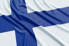 Finland flag. Wavy fabric high detailed texture. 3d illustration rendering Stock Photo