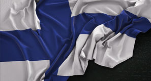 Finland Flag Wrinkled On Dark Background 3D Render. Digital Art Stock Photo