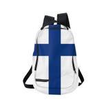 Finland flaggaryggsäck som isoleras på vit Royaltyfri Bild