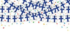 Finland flags garland white background with confetti, Hang bunting for Finland independence Day. Celebration template banner, Vector illustration stock illustration