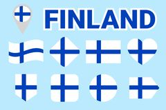 Finland flags vector collection. Set of Finnish national flags. Circle, rhomb, rectangle, arrow, heart symbols with text. Vector i vector illustration