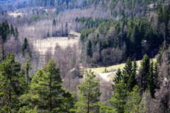 Finland: General landscape in spring. View from a high hill in southern Finland in spring. Fields are not yet green and all trees don't yet have leaves royalty free stock photo