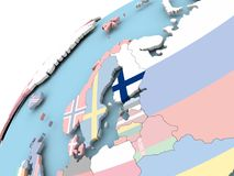 Finland on globe with flag. Map of Finland on political globe with embedded flag. 3D illustration Stock Photos