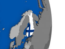 Finland on globe with flag Royalty Free Stock Photography