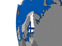 Finland on globe. Map of Finland with its flag on globe. 3D illustration Royalty Free Stock Photo