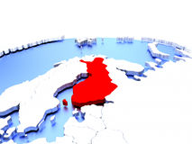 Finland on globe. Finland in red color on simple elegant political globe. 3D illustration Stock Images