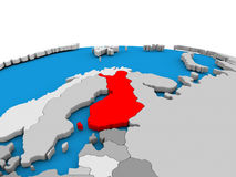 Finland on globe in red. Map of Finland highlighted in red on simple globe. 3D illustration Royalty Free Stock Images
