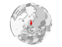 Finland on grey globe isolated. Finland highlighted in red on grey political globe. 3D illustration isolated on white background Stock Photos