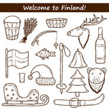Finland hand drawn icons. Set of cartoon hand drawn objects on Finland theme: sauna, deer, bear, broom, bucket, fish. Travel Europe concept for your design Stock Images