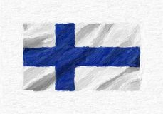 Finland hand painted waving national flag, oil paint isolated on. White canvas, 3D illustration Royalty Free Stock Image