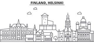 Finland, Helsinki architecture line skyline illustration. Linear vector cityscape with famous landmarks, city sights Stock Photos