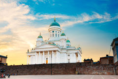 Finland, Helsinki Cathedral Famous Dome Landmark In Neoclassical Style. Finland, Helsinki Lutheran Cathedral, The Famous Landmark With Tall Blue Dome Surrounded Stock Photo