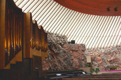 Finland. Helsinki. The Church in the rock. Workers blew up a rock, and on top of the funnel put dome. So a Church. The Church in the rock is famous for its Stock Photo