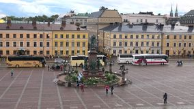 Finland, Helsinki. Evening at Senate square stock footage