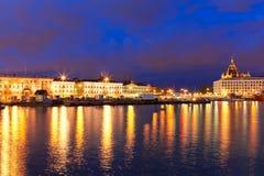 finland helsinki nattpanorama Royaltyfri Foto