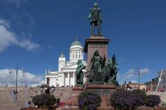 Finland. Helsinki. Senate Square. Monument to Alexander II Royalty Free Stock Image