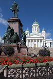 Finland. Helsinki. Senate Square. Monument to Alexander II Stock Images