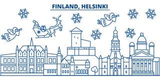 Finland, Helsinki winter city skyline. Merry Christmas, Happy New  Royalty Free Stock Photography
