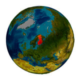 Finland highlighted on globe. Finland in red on detailed model of planet Earth. 3D illustration isolated on white background. Elements of this image furnished by Stock Photography
