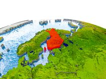Finland on model of Earth. Finland highlighted in red on globe with realistic land surface, visible country borders and water in place of oceans. 3D illustration Stock Photos