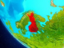 Finland on globe from space. Finland highlighted in red on planet Earth. 3D illustration. Elements of this image furnished by NASA Stock Photography